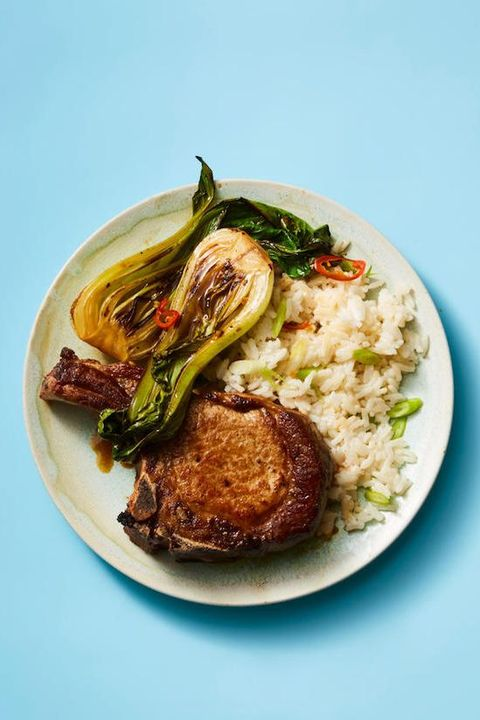 fall dinner recipes   pork chops with coconut rice