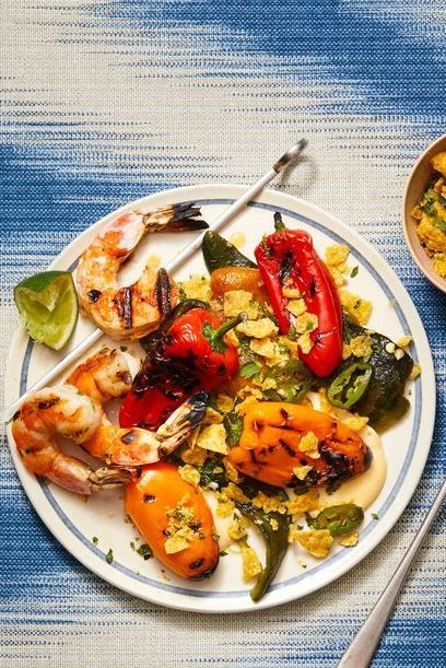 grilled shrimp with charred peppers with queso blanco