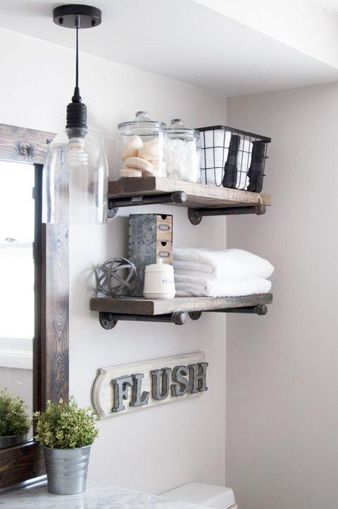 Industrial Pipe Shelves - Bathroom Shelf Ideas