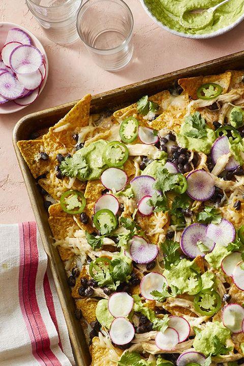 rotisserie chicken recipes - sheet pan chicken nachos
