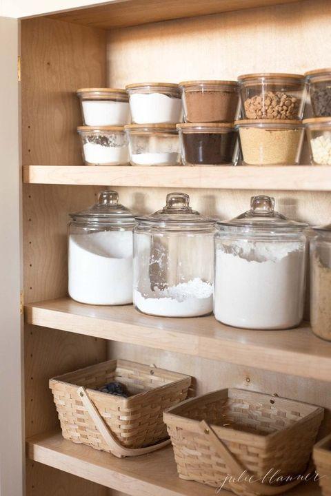 pantry organization ideas - glass jars and baskets