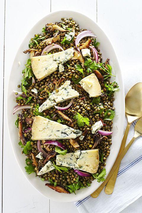 warm wild mushroom and lentil salad   easter side dishes
