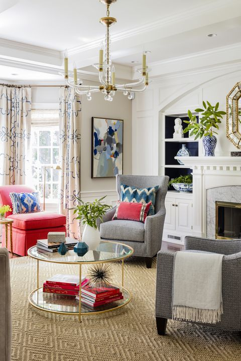 pink and gray living room by katie rosenfeld