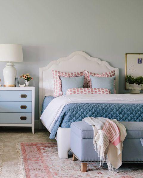 Bedroom, Furniture, Bed, Room, Blue, Bed frame, Product, Bed sheet, Nightstand, Interior design,