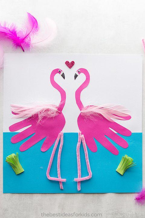 flamingo handprint craft