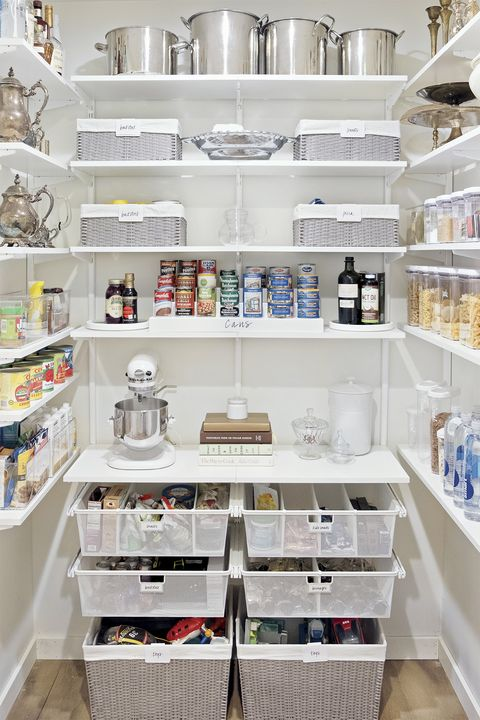pantry organization ideas - white baskets and bins
