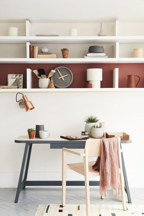 decluttered open shelves