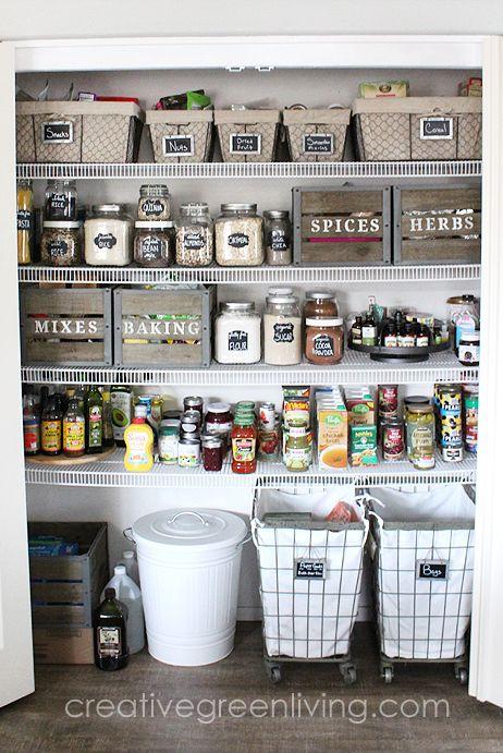 pantry organization ideas - rolling hampers