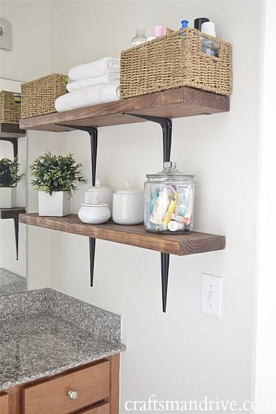 small bathroom storage ideas - open shelves