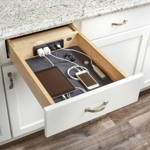 kitchen cabinet drawer organizers - charging drawers