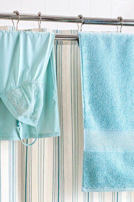 Aqua, Shower curtain, Curtain, Turquoise, Blue, Textile, Teal, Bathroom accessory, Interior design, Window treatment,