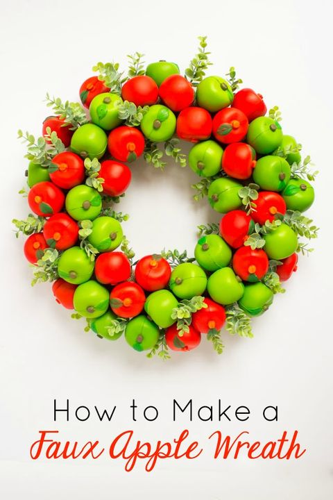 Fall Crafts Faux Apple Wreath
