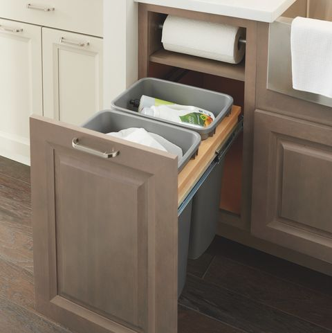 kitchen cabinet drawer organizers - trash bin