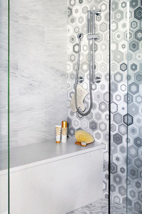 gray tiled shower