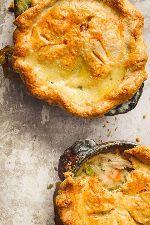 rotisserie chicken recipes - creamy chicken potpies