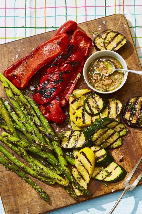 grilled veggies with honey thyme vinaigrette   4th of july appetizers
