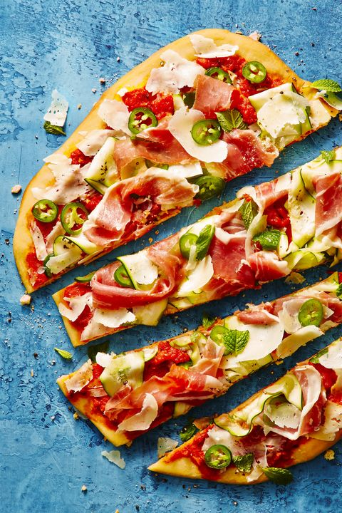 shaved zucchini and prosciutto grilled pizza   summer dinner recipes