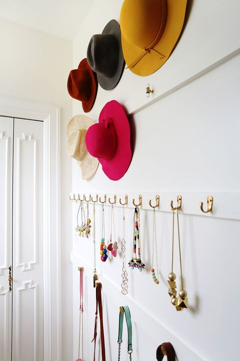 closet organizer ideas - Hanging jewelry and hats and bags