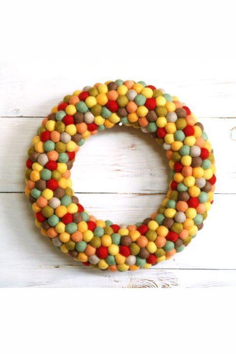 fall crafts pom pom wreath