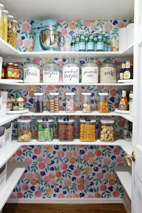 pantry organization ideas - colorful wallpaper