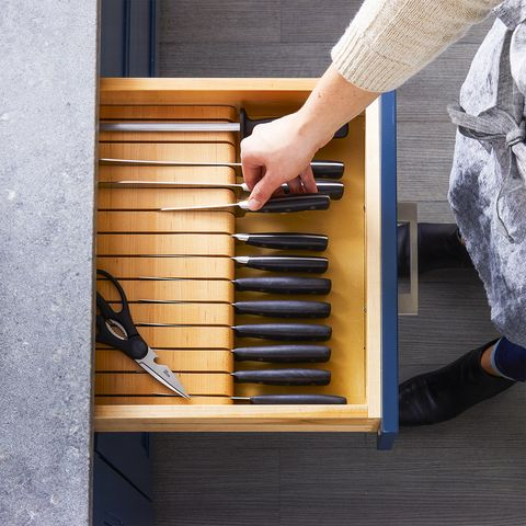 kitchen cabinets drawers organizers - knives