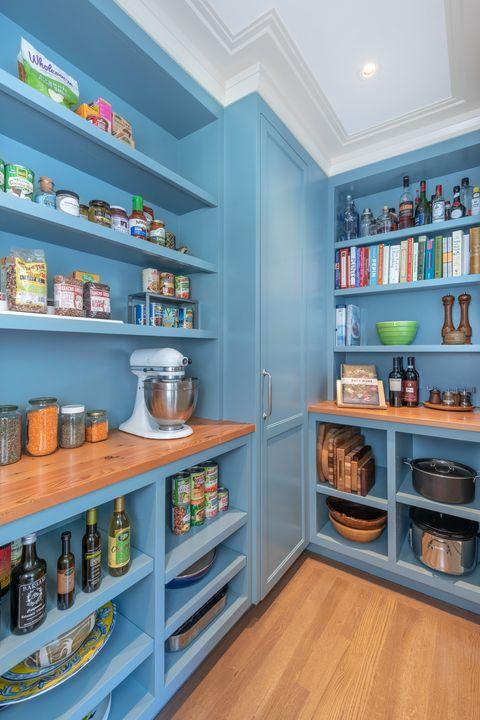 pantry organization ideas - blue pantry