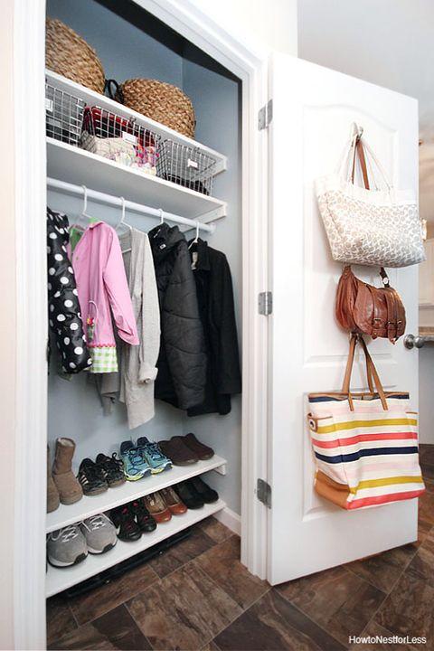 closet organizer ideas - purse hooks