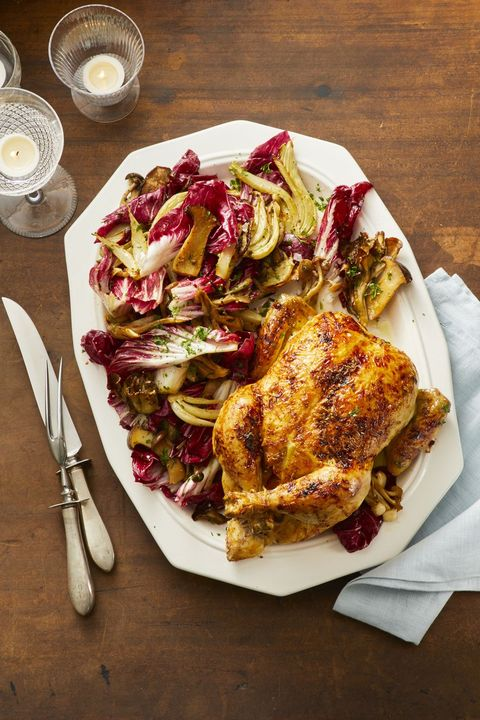 radicchio salad and roasted chicken