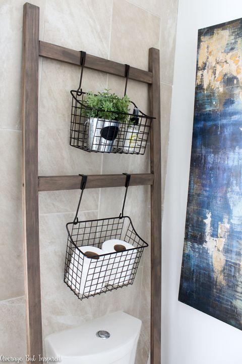 Storage Ladder - Bathroom Shelf Ideas