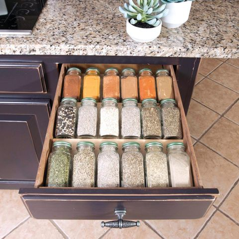 kitchen cabinet drawer organizers - spice organizing drawer by ShelfGenie