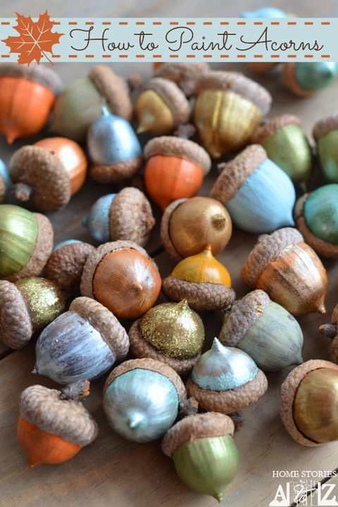 fall crafts colorful acorns