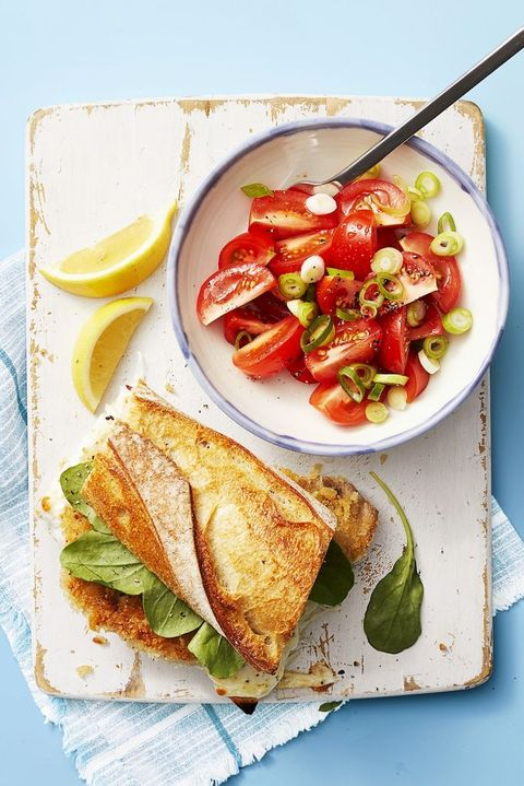 kids dinner ideas  pork milanese sandwich with tomato salad