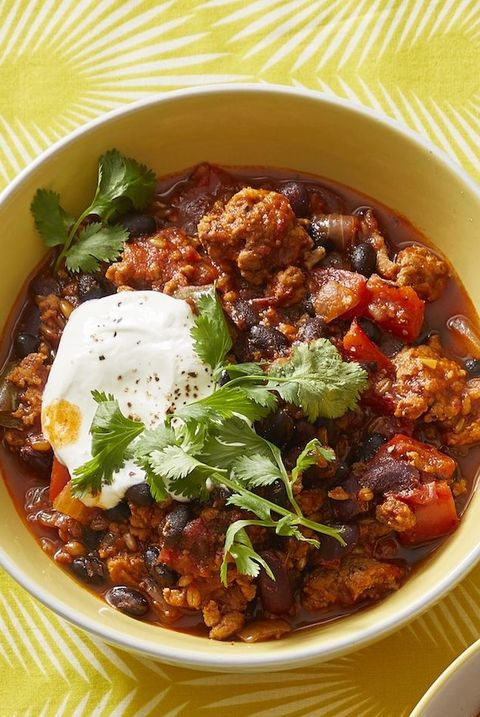 ground turkey recipes  turkey chili with wheat berries and beans