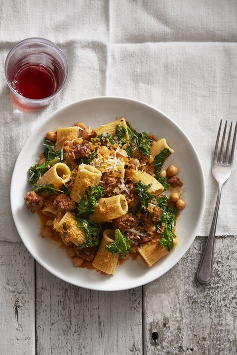 chickpea and kale rigatoni with smoky bread crumbs   valentine's day dinner ideas