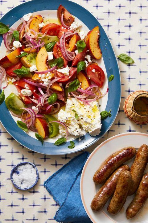 tomato, peach  basil salad with italian sausage recipe