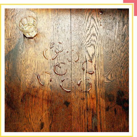 hardwood floor with water