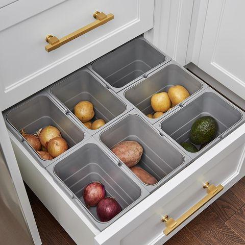 kitchen cabinet drawer organizers - food storage drawer by Watchtower Interiors