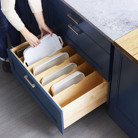 kitchen cabinets drawers organizers - baking pans