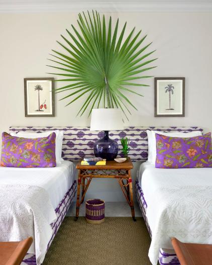 Bedroom, Furniture, Room, Green, Bed, Interior design, Bed sheet, Purple, Wall, Property,