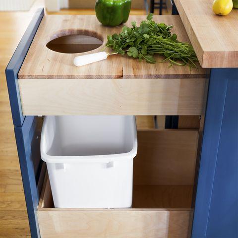 kitchen cabinets drawers organizers - trash