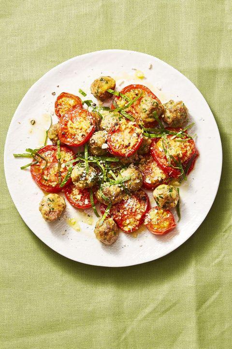 kids dinner ideas  mini meatballs with garlicky tomatoes