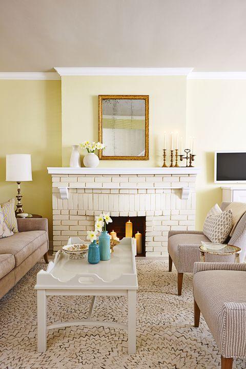 Sunny Painted Brick Fireplace