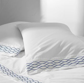 100% Supima Cotton, 400 Thread Count Percale Ogee Embroidered Hem Sheet Set