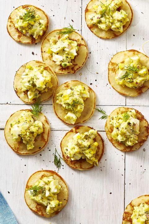egg salad blini bites