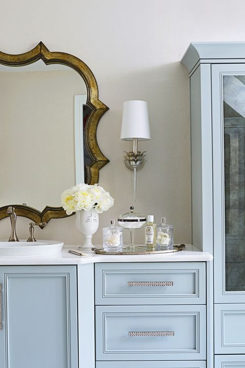 blue bathroom cabinetry
