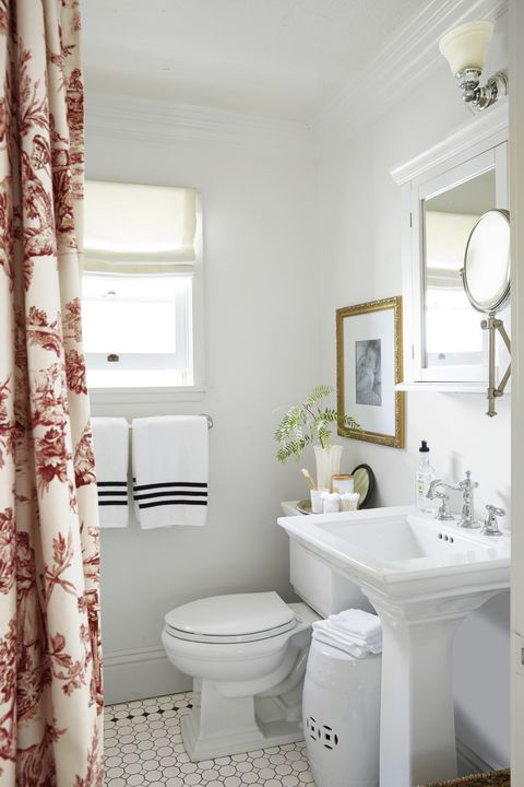 bathroom with red curtain