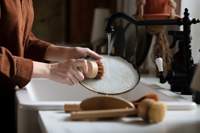 woman washes a plate in the kitchen using eco friendly brushes
