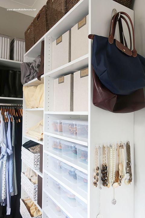 closet organization ideas - jewelry bags
