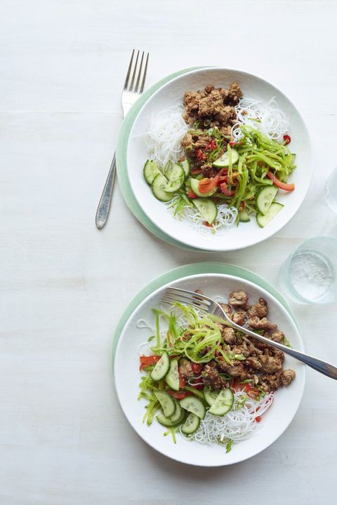 ground turkey recipes  gingery asian noodle salad with turkey and cucumbers