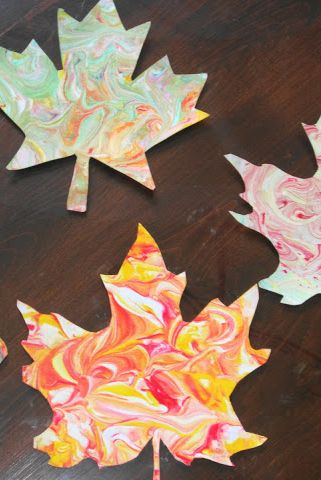 Fall Crafts Marbled Leaves